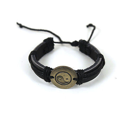 Yin Yang Peace Unversal Love Unity Harmony Hippie Surfer Bracelet Leather CUFF