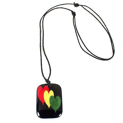 Black Cord Necklace Reggae Vibes Dog Tag Love Rasta Irie Love Pendant 1SZ FIt