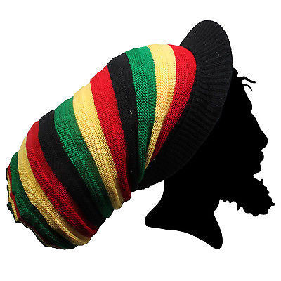 Rasta Rastafari Tall Peak Crown Hat Reggae Dubwise Lion Jamaica Marley XL/XXL Fit