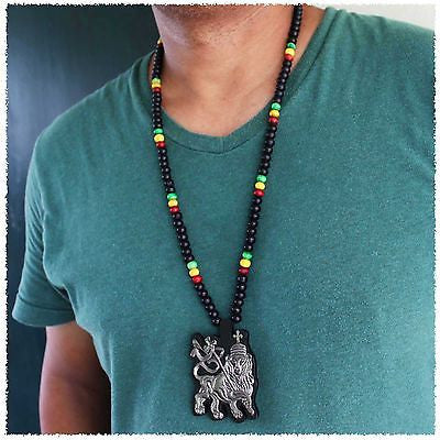 Lion Of Judah Wood Necklace Large Pendant Rasta Reggae Rastafari Jamaica Bob 30""