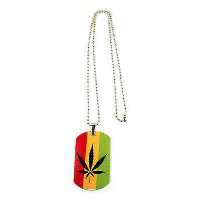 Weed Of Wisdom Irie Rasta Rastafari Canabas Leaf Dog Tag Necklace Marley 24""