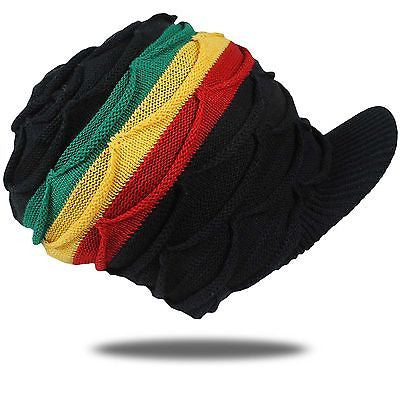 Rasta Hat Cap Peak Sloucy Crown Africa Dread Marley Reggae Jamaica M to L Fit