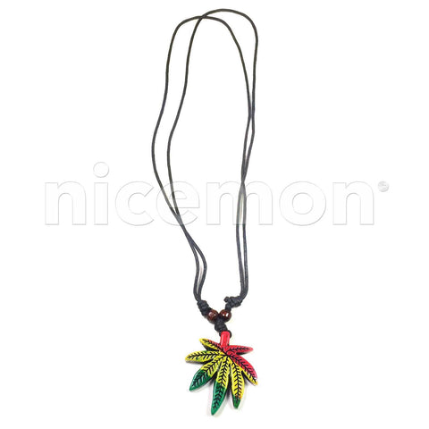 """GANJA LEAF PENDANT ON 20/"""" BLACK CORD WITH BLACK WOODEN BEADS NEW"""