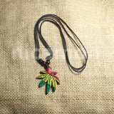 Weed Of Wisdom Black Cord Pendant Necklace Roots Reggae Rasta Hippie ADJUSTABLE