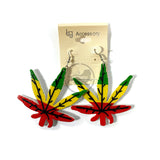One Love Jamaica Empress Royalty Weed Leaf Rasta Earrings Marley Reggae XL