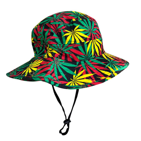 Rasta Kush Cannabis Weed Leaf 100% Cotton Bucket Hat Cap Jamaica Reggae 1sz Fit