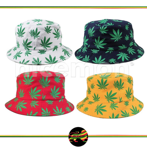 85d4f1043e6 Rasta Kush Cannabis Weed Leaf 100% Cotton Bucket Hat Cap Jamaica Reggae 1sz  Fit ...