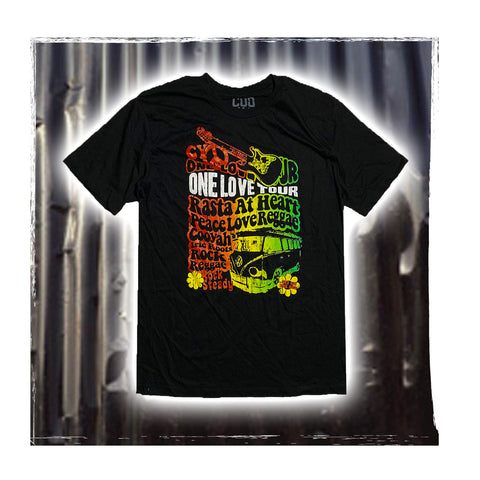 One Love Tour Rasta Cooyah Irie T Shirt Rastafari Jah 100% Cotton Jamaica CY