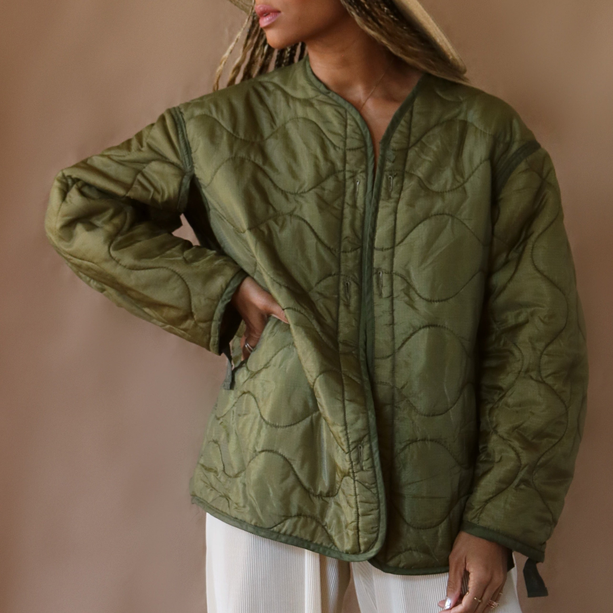 army liner, olive