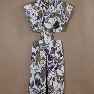 cutout jumpsuit, tropic brushstroke