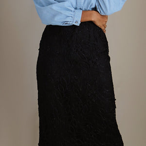 silk midi skirt, black lace