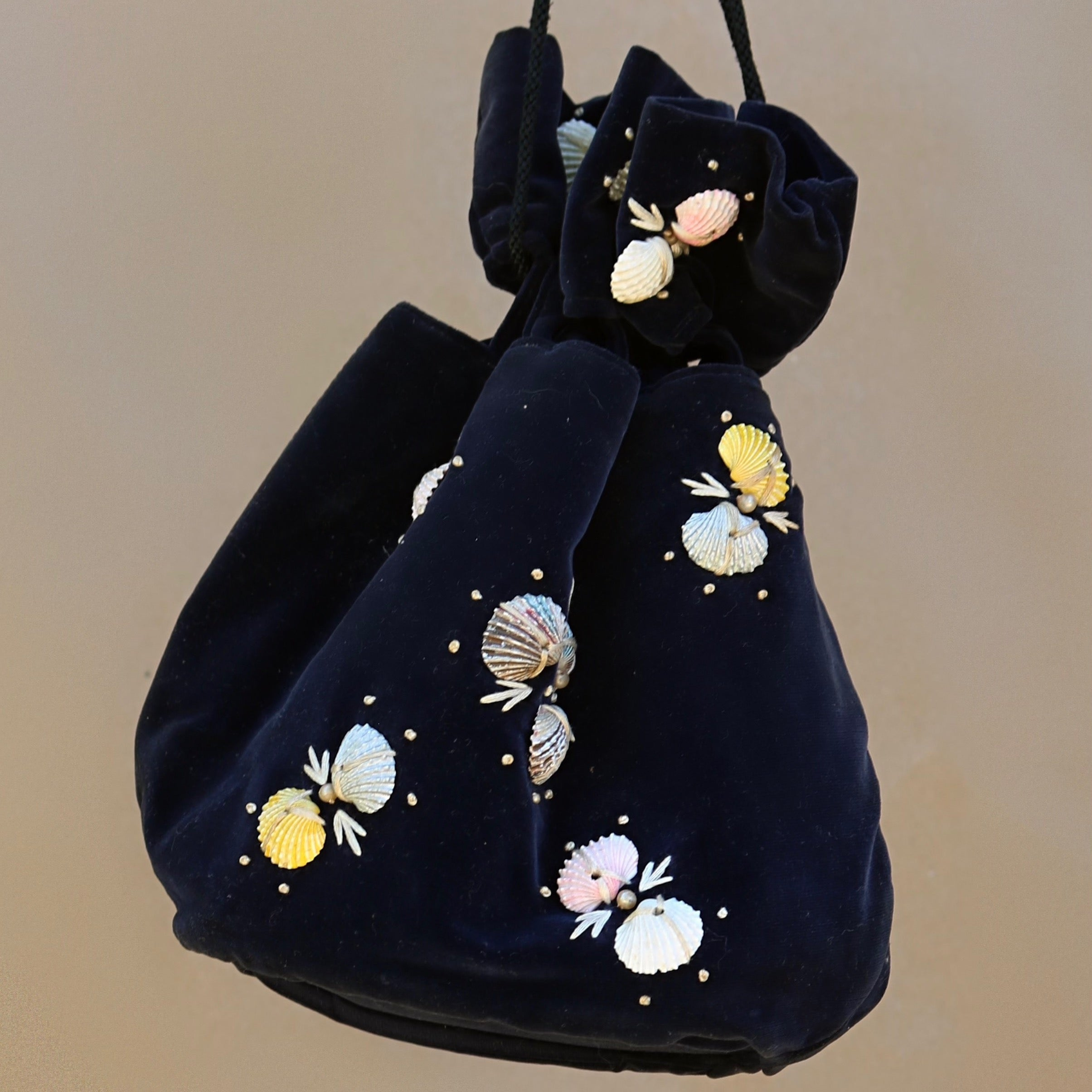 1950s resort bag, velvet + shell