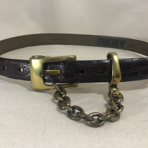 leather belt w/ chain, brown + brass