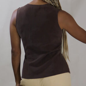 silk top, cocoa