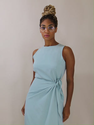 faux wrap dress, light jade