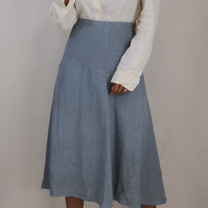 cotton + linen midi skirt, grey