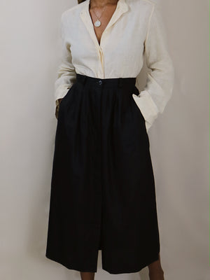 linen trench skirt, black