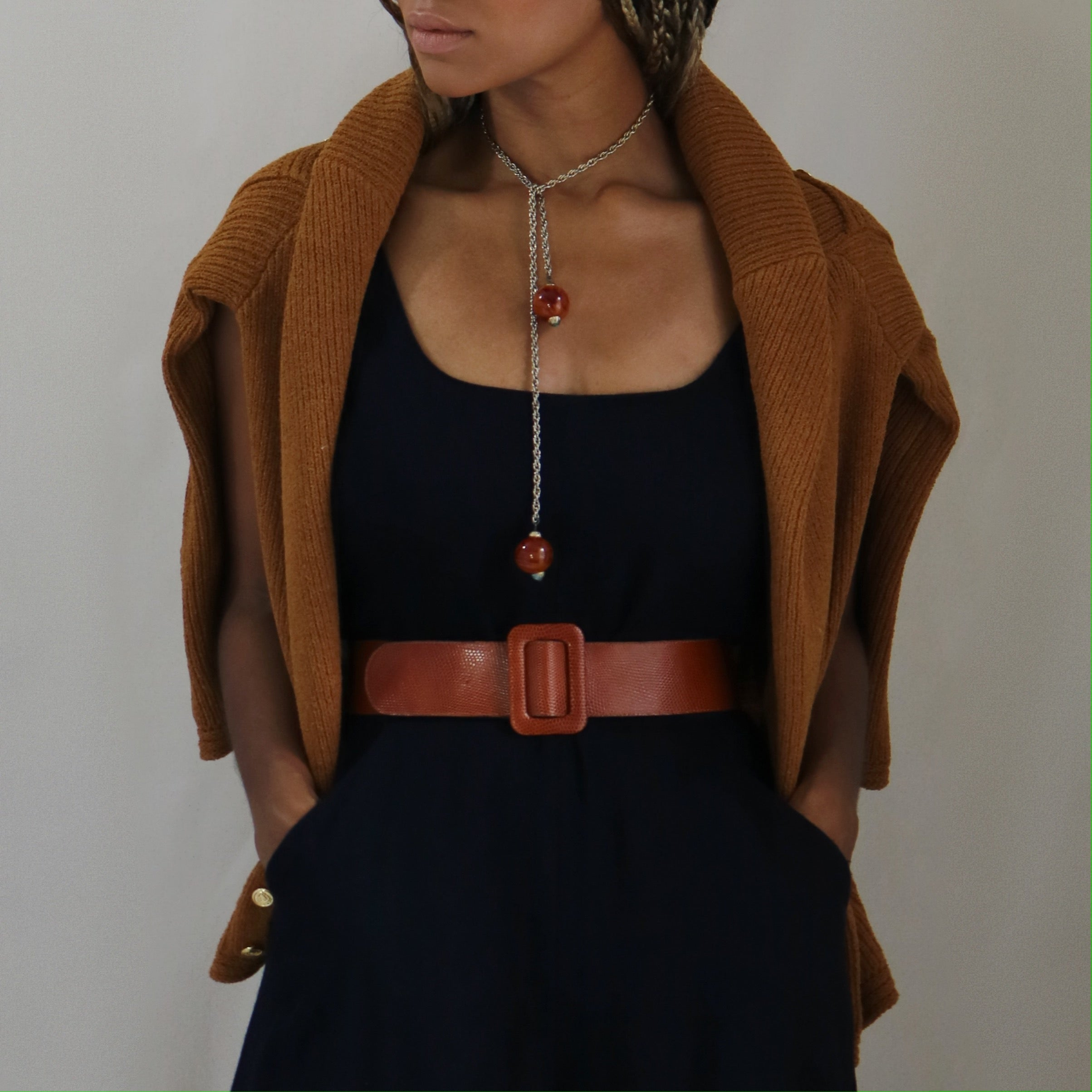 leather belt, cognac