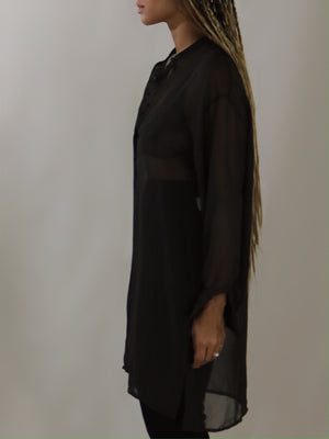 sheer tunic, expresso