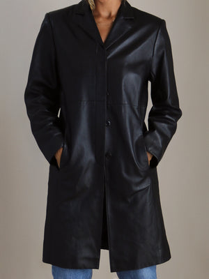leather minimal trench, black