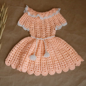 handmade crochet dress in salmon | 18 - 24 mo.