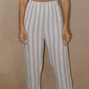 casual stripe pant in taupe