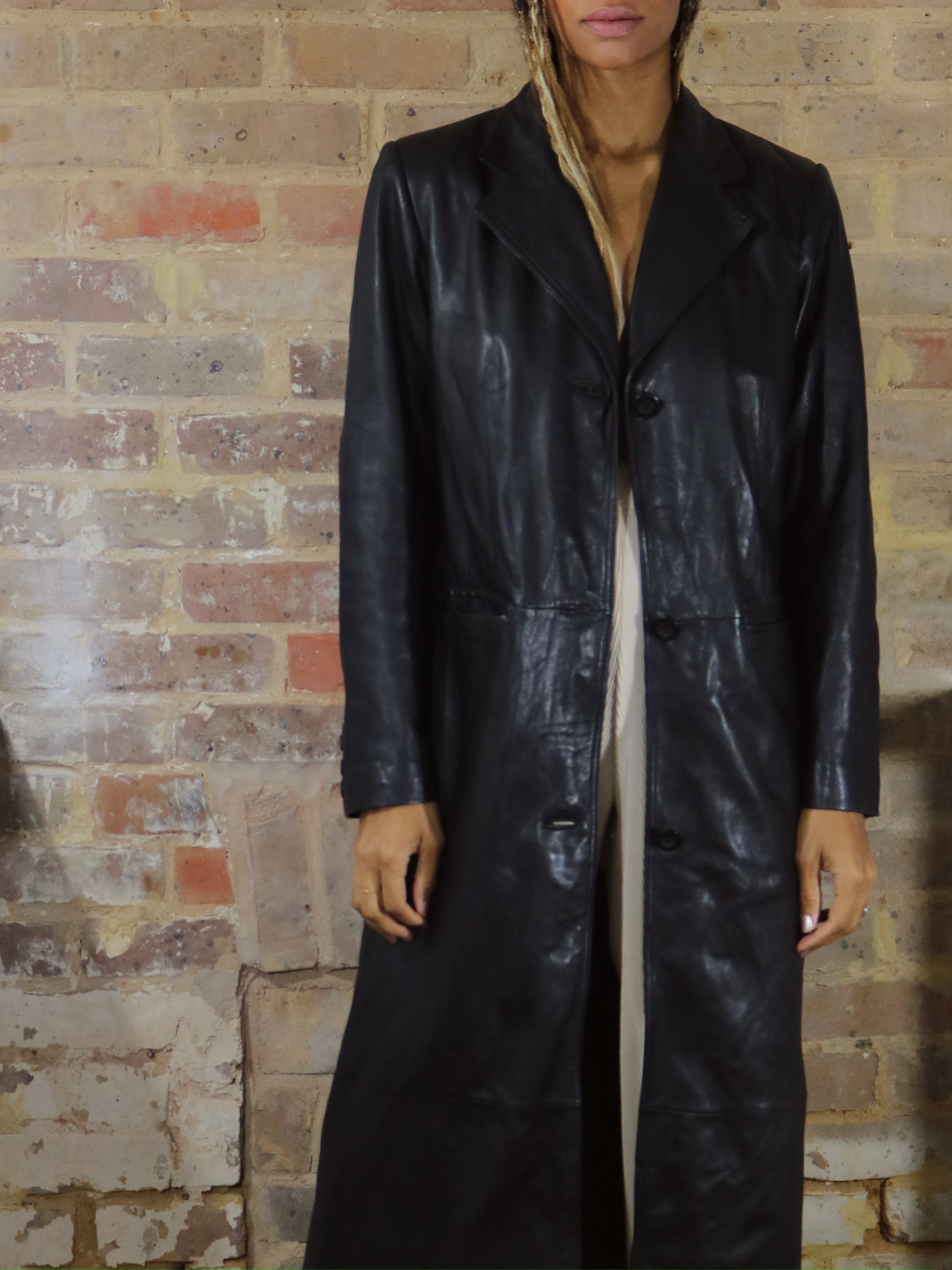 lamb leather trench, black