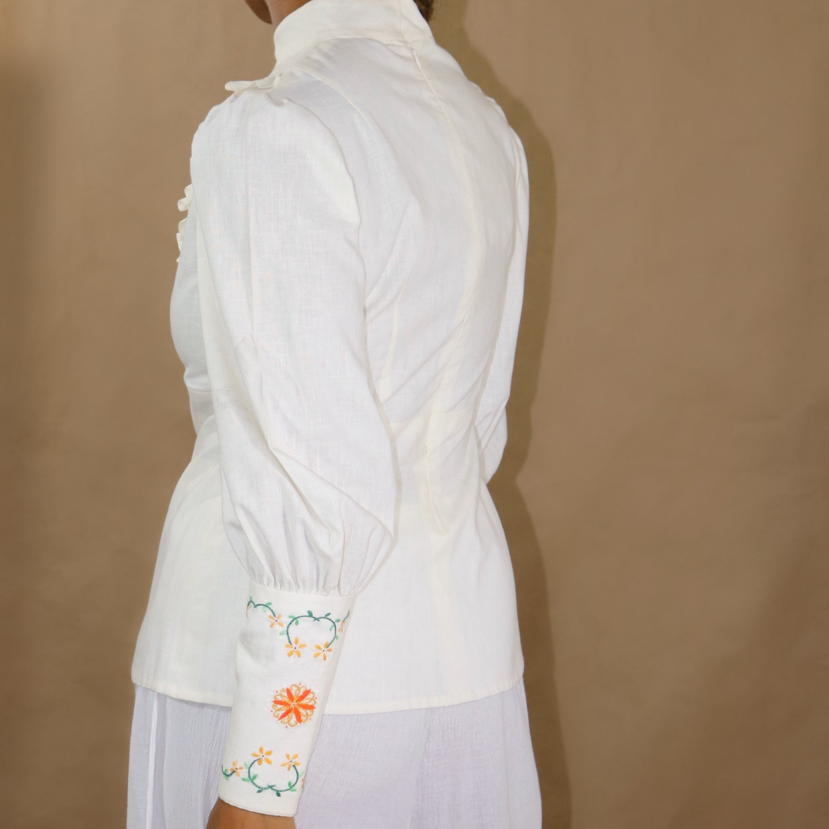 cotton embroidered blouse in cream