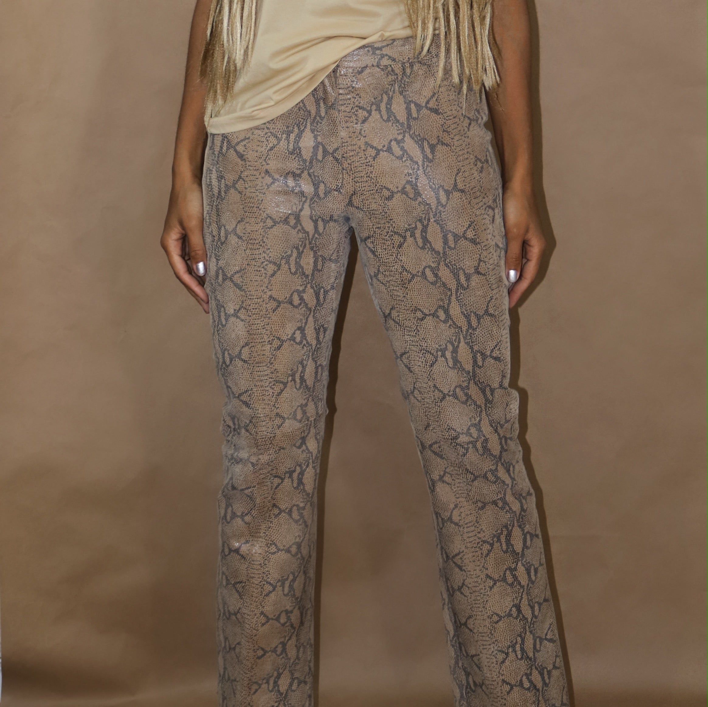 leather pant in snake