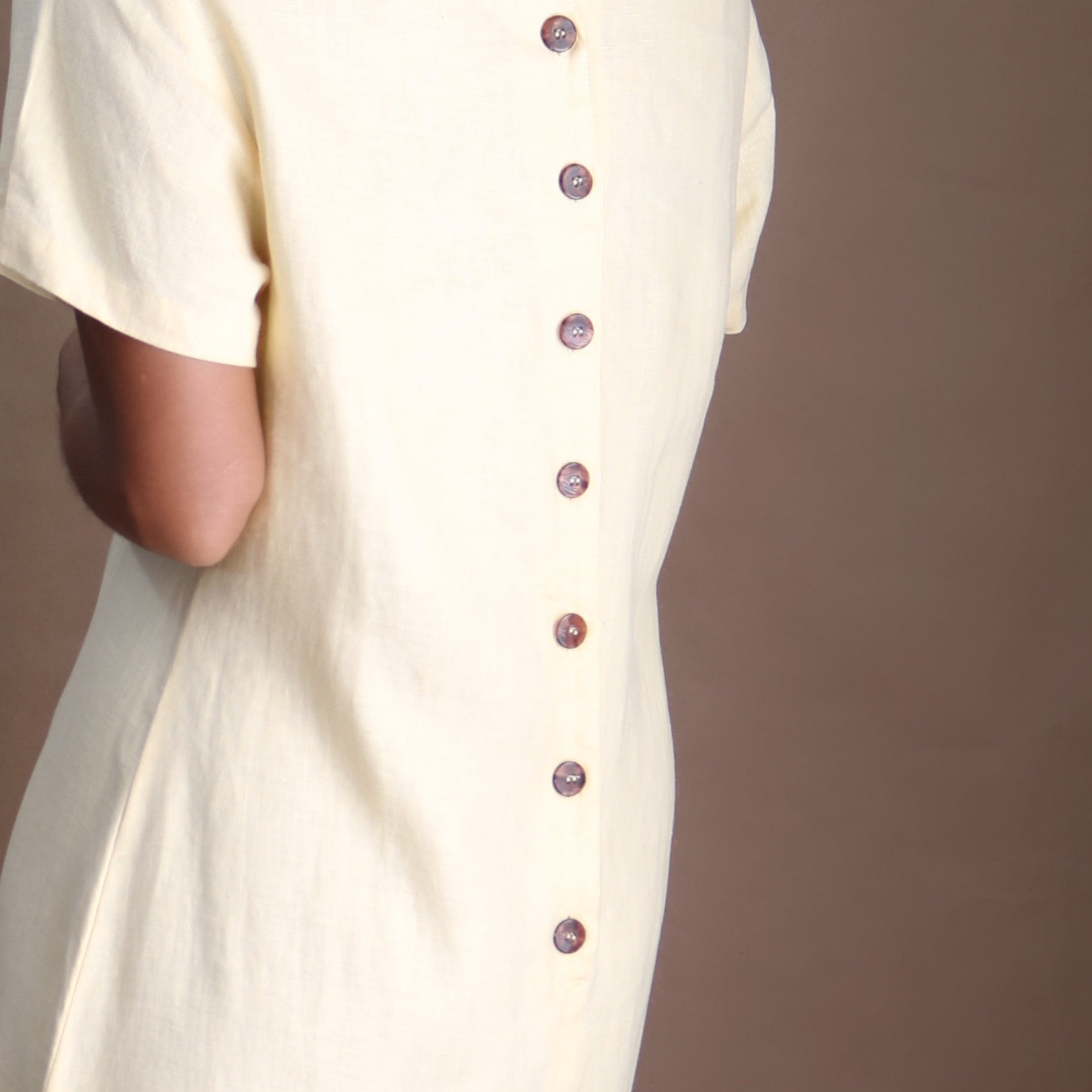 linen dress in shortbread