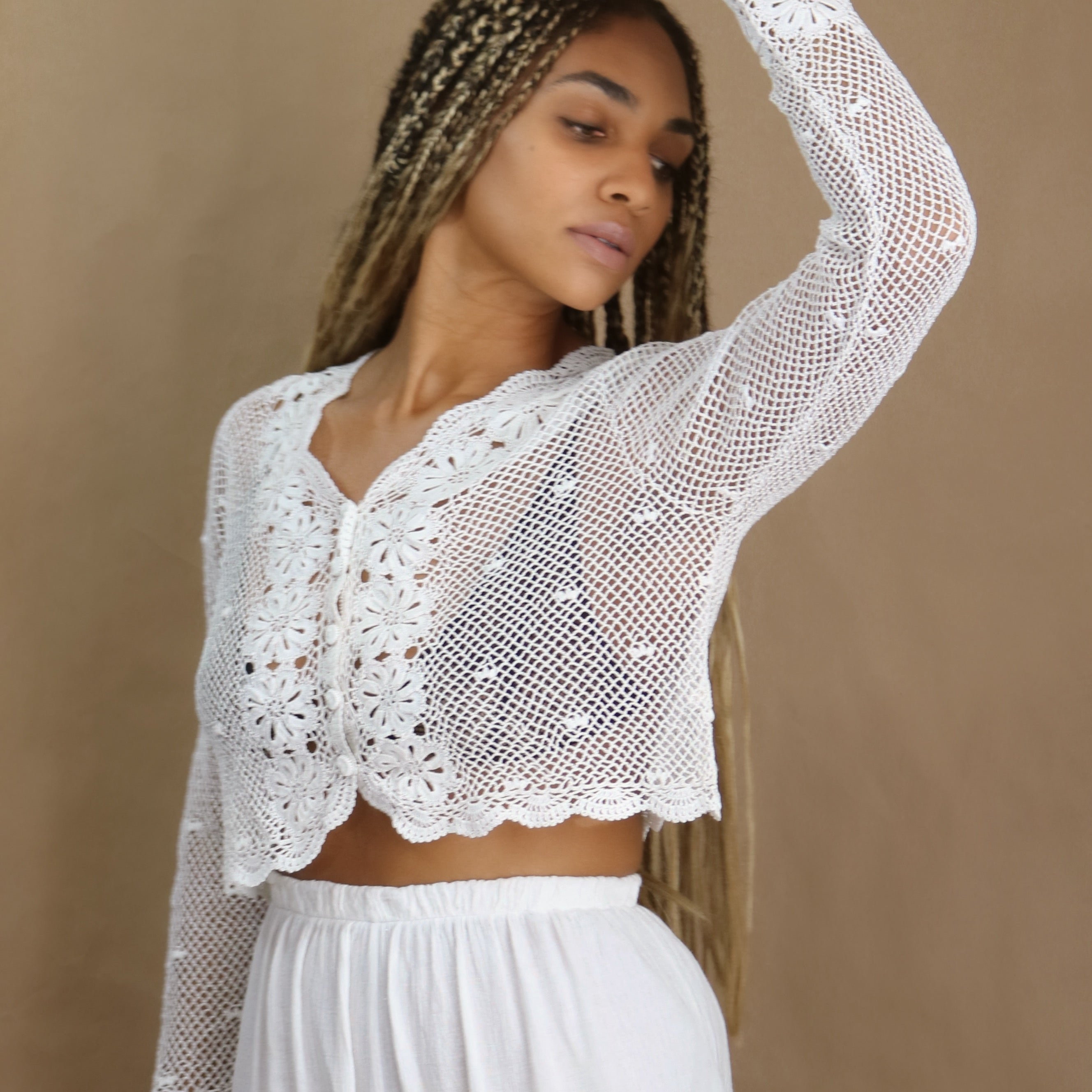 crochet top in blanco