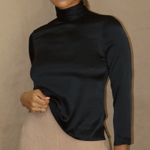liquid silk blouse in black