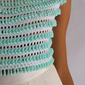Lennon Beaded Top, Aqua