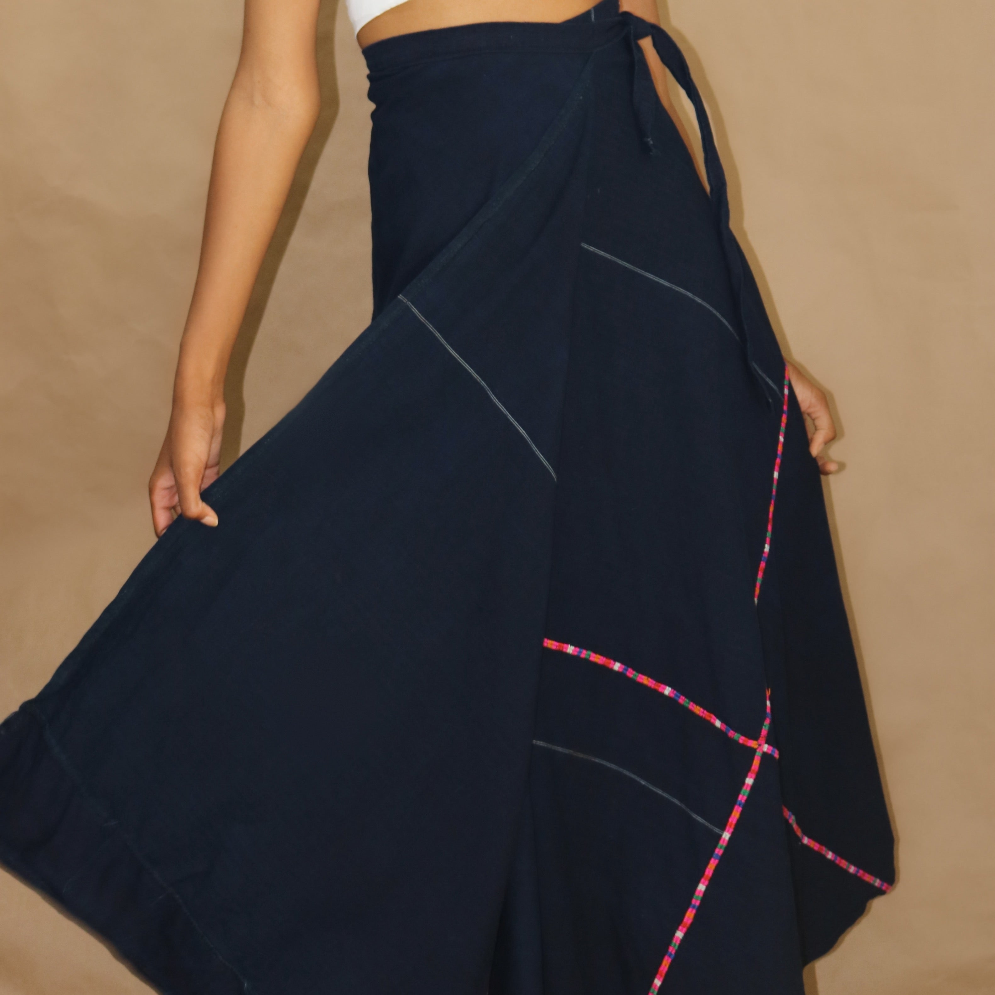 handmade wrap skirt, ink