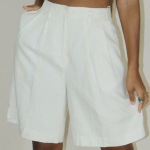 linen high waist short, rice