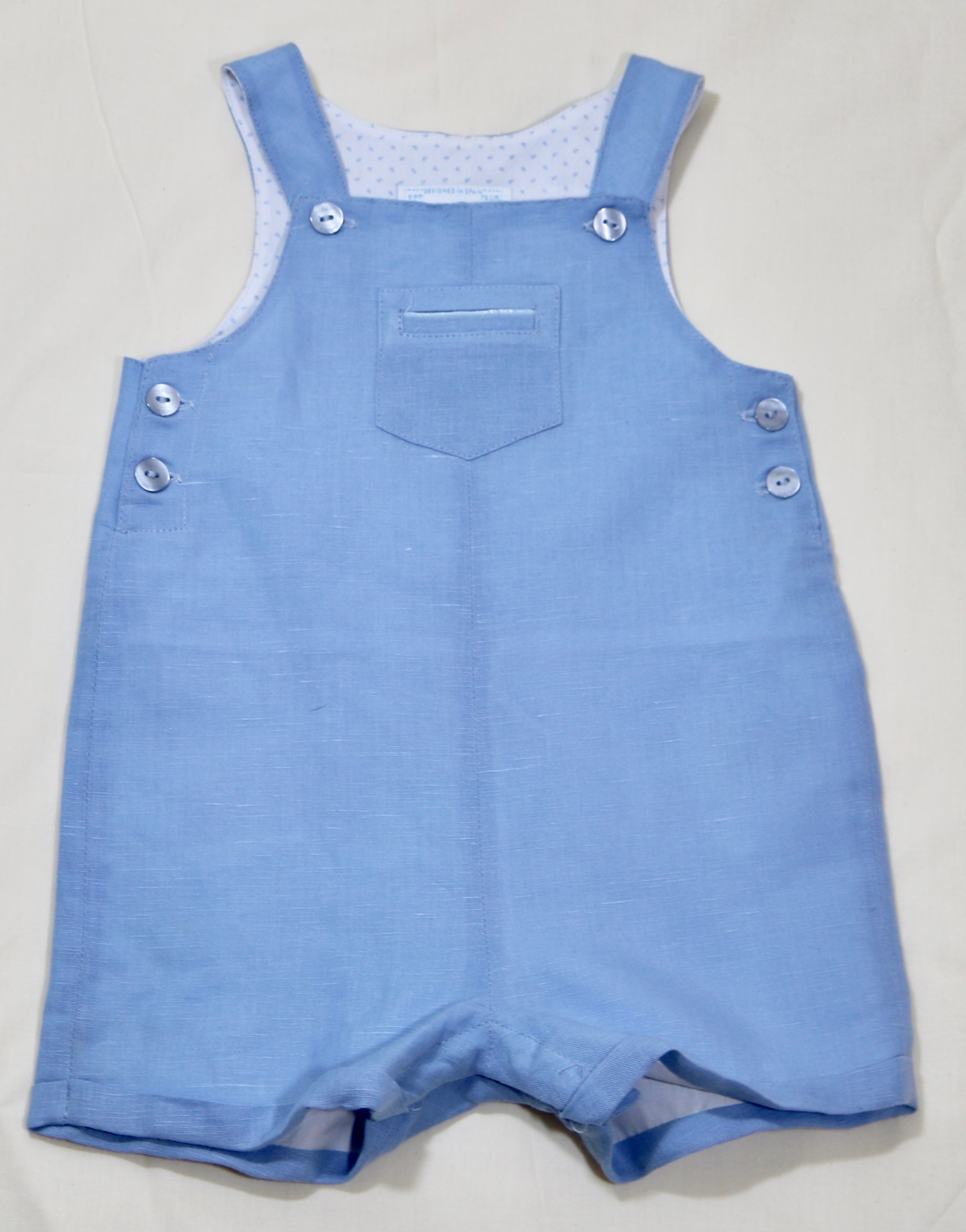 Blue Linen Short Dungaree, Size 6-9 Month