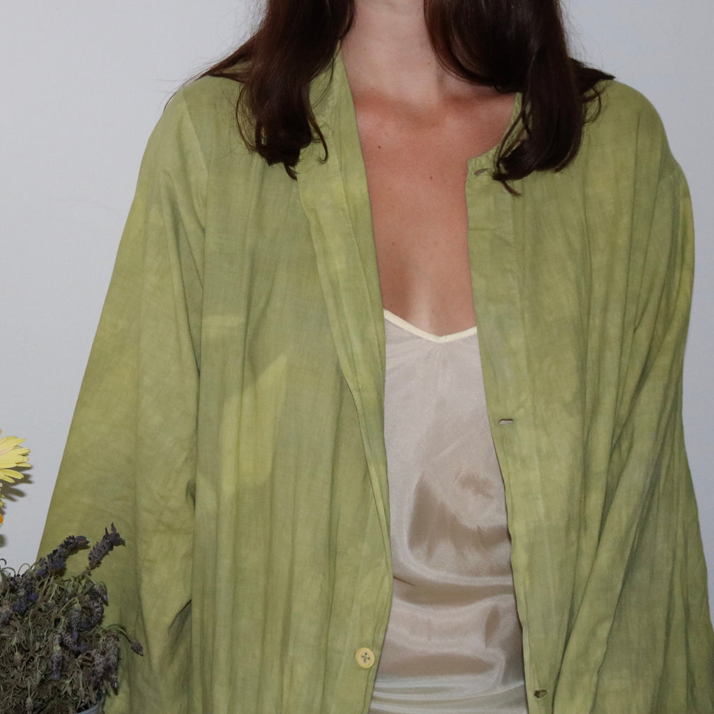 antique duster hand dyed in olive