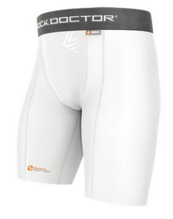 Shock Doctor White Compression Short with Cup Pocket - Adult