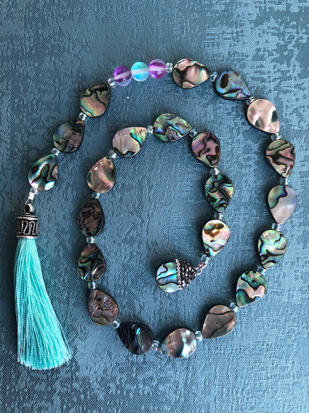 Drop from the Ocean (aqua tassel & angel aura quartz)