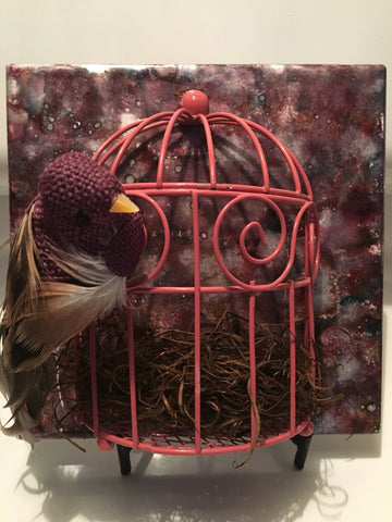 Freedom (tile with burgundy bird)