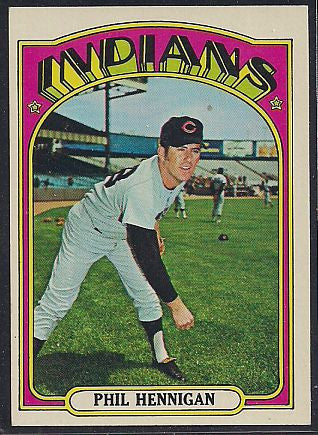 Baseball Cards - 1972 Topps Phil Hennigan #748 - Indians