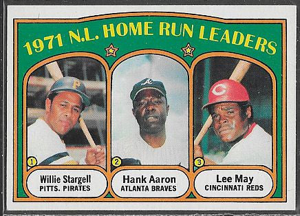Baseball Cards - 1972 Topps - National League Home Run Leaders  #89 - Stargell/Aaron/May