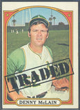 Baseball Cards - 1972 Topps Denny McLain Traded #753 - A's