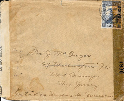 Angola Cover to West Orange, NJ USA 1943 - Censored