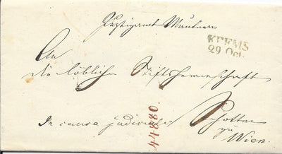 Austria Stampless Cover - Krems to Vienna - 1847