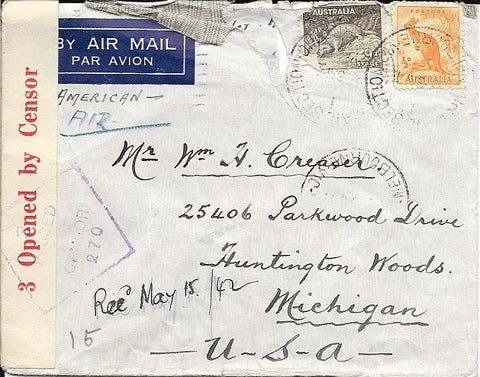 Australia Censored Cover- 1942 - Roughly Opened - To Huntington Woods, MI - Censor 270