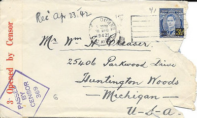 Australia 189 on Censored Cover - March 1942 - To Huntington Woods, MI - Censor 369