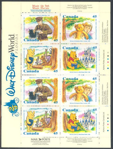 Canada BK184 Complete Booklet & 1621a MNH - Winnie the Pooh