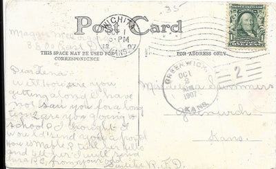 US 300 on Postcard - Doane Cancel - Greenwich, KS - 1907 - Card Has Crease - Happy Birthday (Front)