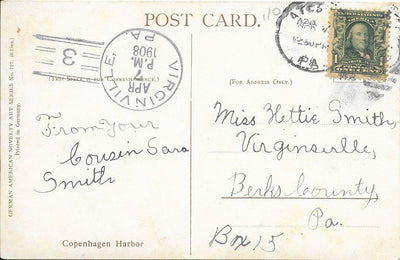 US 300 on Postcard - Doane Cancel - Virginville, PA - April 1908 - Copenhagen Harbor (Front)
